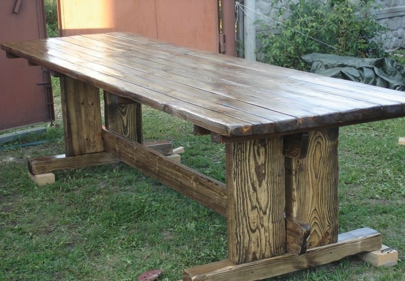 Дачные столы из дерева своими руками