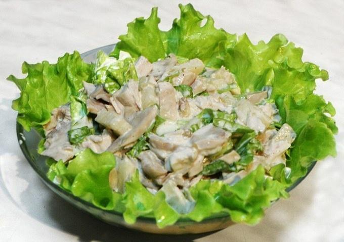Салаты из шампиньонов с курицей рецепты