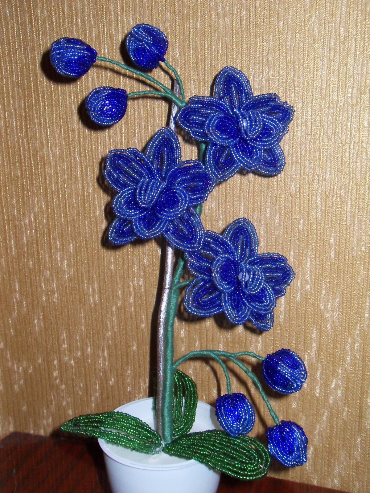 Орхидея из бисера мастер класс с пошаговым для начинающих схема