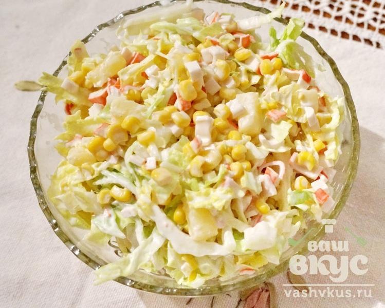 Рецепт салата из пекинской капусты и кукурузы и крабовых палочек